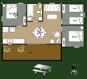 Cabin 3 Bear - floorplan