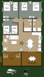 Cabin 10 Moose - floorplan